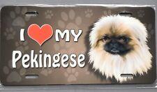 Pekingese I Love My Metal Novelty Car License Plate Dog Pet Heart