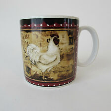 Sakura Mug Retro Rooster White Rooster on Burgandy 10 oz. Kimberly Poloson