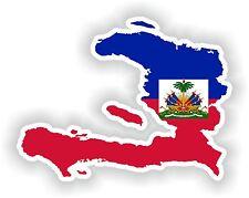 Sticker Silueta Haití Mapa Bandera Para Parachoques Guitarra Patineta Locker Tablet