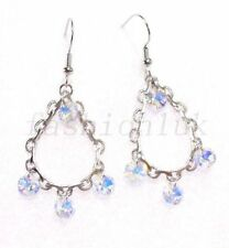 Hook Pear White Gold Plated Costume Earrings