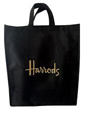 HARRODS LARGE LOGO SHOPPER BAG CANVAS BLACK