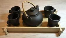 6 Piece Decorative Ceramic Brown Asian Tea Set, Tea Pot 4 Tea Cups Wood Tray