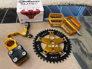 Bullseye BMX Black And gold Combo Chainring 41 Stem Rare Elite XT Pedals Lever