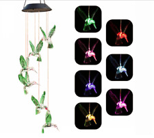 Color-Changing LED Solar Powered Hummingbird Wind Chime Lights Yard Garden Décor