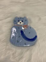 "VTG Otagiri Ceramic Blue Cat Japan Trivet Hot Plate Handcrafted Wall Art 9"" X 7"""