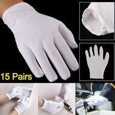 15 Pairs 100% Cotton White Gloves General Purpose Moisturising Lining Gloves UK
