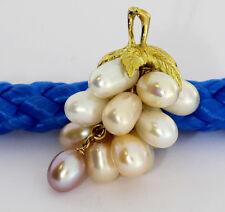 Colgante Uva perlas de Agua Dulce 18 quilates oro amarillo NUEVO