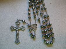 Hand Made ROSARY 7 mm Hematite Pewter 2 1/2 inch Crucifix 4 Way Medal Center