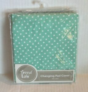 Trend Lab Green & White Polka Dot Changing Pad Cover for Baby Nursery NEW