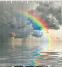 Storm Clouds Rainbow Fabric SHOWER CURTAIN Ocean Lightning Water Spout Rain Bath