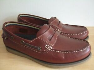 New M&S Collection brown leather loafers moccasin deck shoes size UK 7.5