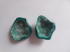Green Geode Sparkle Natural Cave Druzy Cabochon Agate Matched Pair Raw