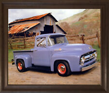 Ford F 100 V8 Pickup Vintage Truck Wall Decor Brown Framed Print Picture (19x23)