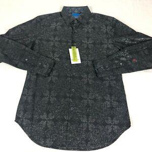 NEW Robert Graham Dress Shirt Mens size XS Long Sleeve Black Button Up Linen
