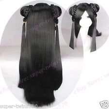 Black Cosplay Wigs Costume Wig with Hair Buns Braids Ponytails Long Straight NEW