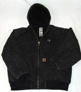 Carhartt Men's Black Heavy Canvass Full Zip Hooded Jacket Size X-Large Regular