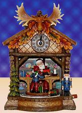 Spieluhr Kuckucksuhr Weihnachten Winter Uhr Elchgeweih Weihnachtsmann Zug 55024