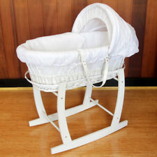 Baby Wicker Bassinet White Wooden Head to Toe Rocking Stand Waffle Bedding