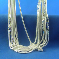 """Free Shipping 10pcsX 1mm 16""""-24"""" solid silver snake chains necklace NU028+box"""