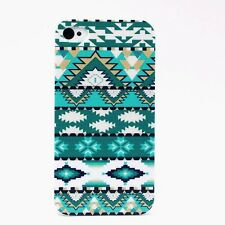 IPHONE Shell 4-5-5C Pattern Aztec Green & Turquoise Blue Art Case Cover