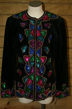 CARLISLE Black Velvet Sequin Beaded Jacket Women's 6 H0593 New with tags Holiday