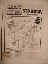 mattel MOTU maitres de l'univers HE-MAN STRIDOR Notice ORIGINALE instructions