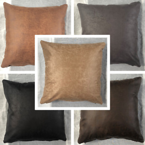 High Quality FR BS7177 Handmade Distressed Faux Leather Cushion Cover Many Sizes
