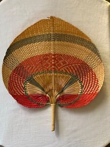 "Large 13 1/2"" Colorful Woven Palm Leaf Rattan Fan"