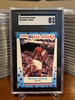1989 FLEER STICKER #3 MICHAEL JORDAN SGC 8 NM