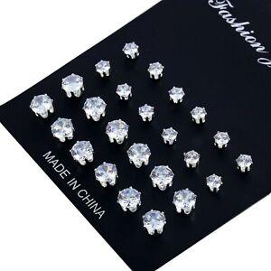 12 Pair/pack Women Men Crystal Wedding Jewellery Earrings Studs Various size