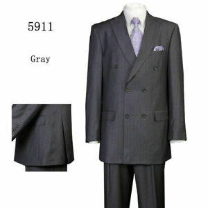 Men's Classic 2 Piece Jacket & Pants Double Breasted Suit Black Navy, Gray 5911