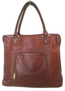 Vintage Liz Claiborne Womens XL Cognac Brown Tooled Leather Attache Satchel Tote