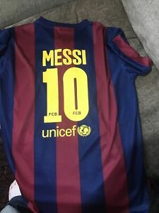 Barcelons Messi 10 Shirt By Rogers Size Small Mens Claret And Blue