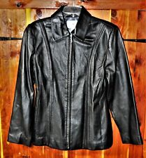 Ladies Soft Sexy Black Lined Lambskin Leather Jacket Size Small
