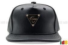 Hater Snapback Black Full Grain Leather Gold Logo Metallic Adjustable Cap Hat
