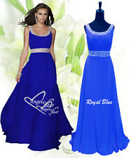 Long Chiffon Bridesmaid Formal Gown Ball Evening Prom Party Dress Size 8 -24 Royal Blue 10
