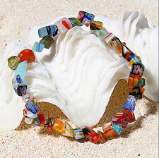 Women Handmade Lampwork Glass Gemstone Chip Beads Stretchy Bracelet Jewelry Gift