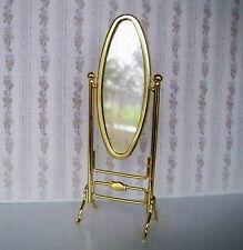 1:12 - Beweglicher Miniatur STANDSPIEGEL - Oval Echtglas - Messing - Puppenhaus