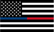 "1 - 5"" Thin BLUE RED Line Black White American Flag Police Firefighter Sticker R"