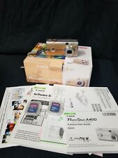 Canon Power Orange Shot A400 Camera With 1gb, 512mg scan disk, Manuals, and Box