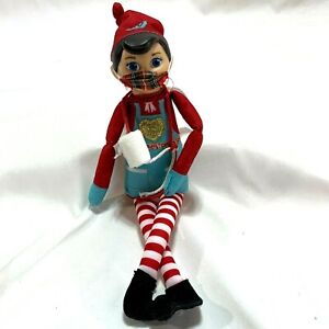 Elf on the Shelf Mates Chef with Face Mask and a roll of Toilet Paper