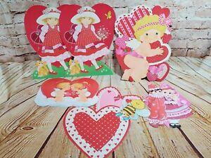 6 Vintage Eureka Die Cut Valentines Day HEART Cupid Angel,Girl and Boy