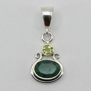 Genuine Natural Green EMERALD with Peridot Pendant 925 STERLING SILVER #11