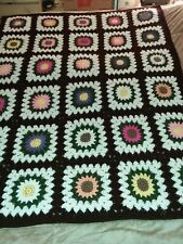 "52""×66""  painted daisey flowers coffee brown border new handmade crochet blanket"