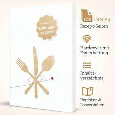 DIY Kochbuch zum selberschreiben WEISS: DIN A4 Hardcover, 102 Seiten + Extras