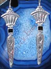 Ohrring Stab mit Krone Zepter mit Onyx schwarz Sterling Silber 925 Länge 6,5 cm