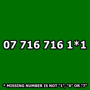 07 716 716 1*1 - Tesco (O2) Gold Mobile Phone Number VIP Taxi Business SIM Card