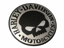 Aufkleber Sticker 3D Emblem Aluminium Harley Davidson Skull Schwarz 9cm