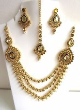 Indian Bollywood Traditional  Kundan Pearls Gold Tone Bridal Fashion Jewelry Set