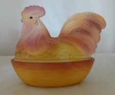 Fenton Art Glass Hand Painted Rooster on Nest Original Box 4680N1